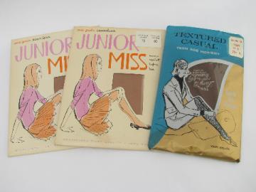Retro vintage teen-age junior miss nylon stockings lot, original pkgs