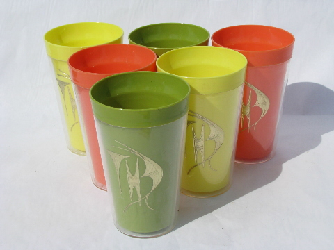 Retro vintage thermoware type insulated plastic picnic tumblers, tropical colors