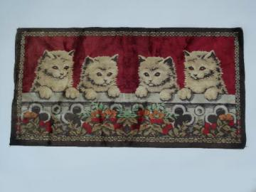 Retro vintage wall hanging tapestry rug, plush velvet kittens carpet fabric