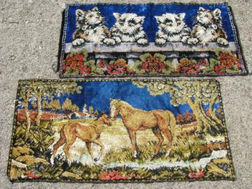 Retro vintage wall hanging tapestry rugs, horses and kittens velvet plush carpet fabric