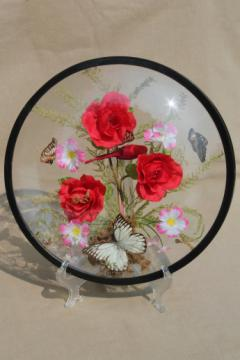 Retro wall art, butterflies & light up flowers in convex bubble glass frame display case