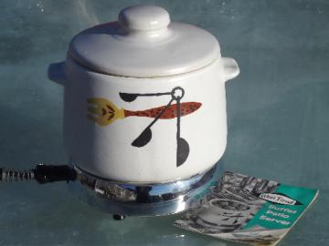 Retro West Bend electric buffet warmer hot plate, Patio print crock serving pot