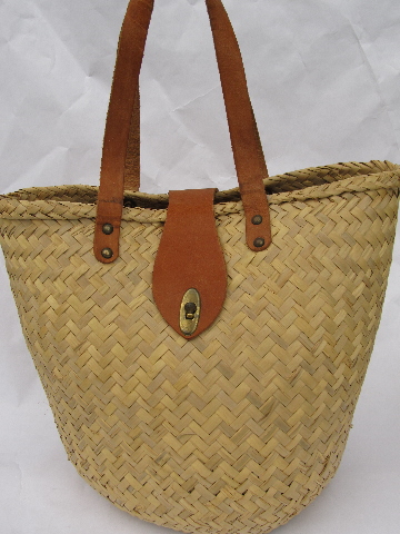 Retro woven straw tote, market basket or beach bag w/ leather handles