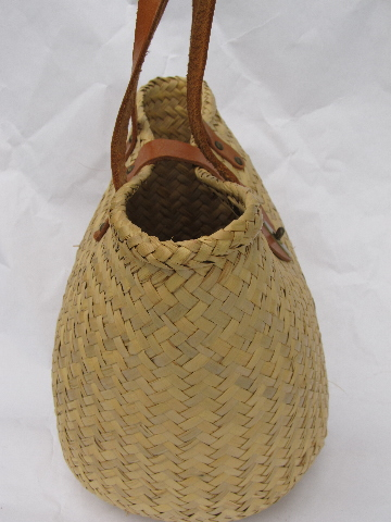woven straw tote, market basket or beach bag w/ leather handles