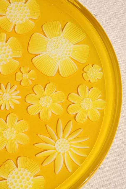retro yellow daisy lucite plastic serving plate or tray, 60s 70s mod vintage