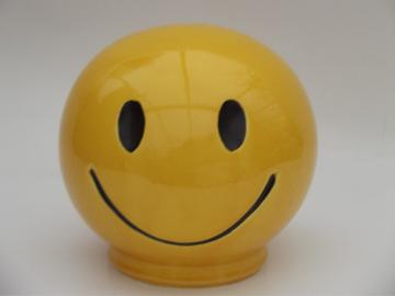 Retro yellow happy smile face coin bank, 70s vintage McCoy smiley