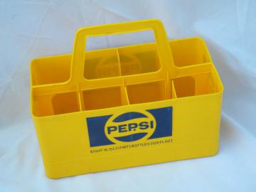 Retro yellow plastic carrier rack for old glass Pepsi soda bottles