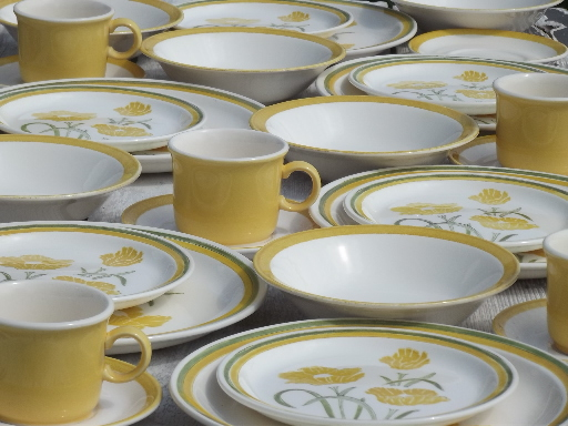 & Retro yellow poppy dinnerware set vintage Jamestown china ironstone