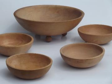 Rio Grande wooodenware vintage wood bowls, wooden bowl salad set