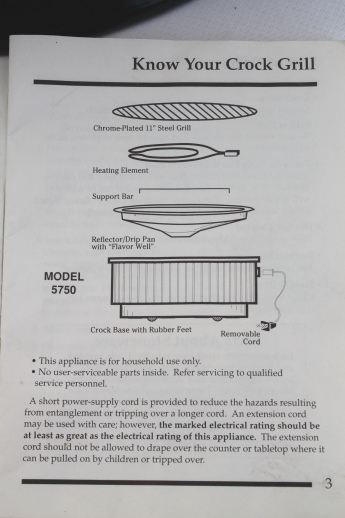 Rival Crock Grill Model 5750 W Instructions Manual