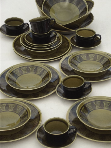 Riviera green \u0026 black Taylor Smith \u0026 Taylor 60s vintage dinnerware set ... & vintage china dishes and dinnerware