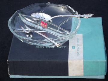 Rogers Reflection silver plate olive spoon & pickle fork Viking glass dish