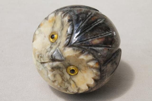 roly poly round owl paperweight, retro carved marble onyx stone owl for your desk