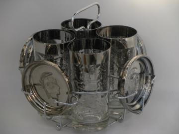 Roman God Mercury silver glass coasters, shield glasses, mod drinks rack