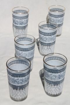 Roman Patrician greek key pattern glasses, blue & white print Jeannette glass tumblers