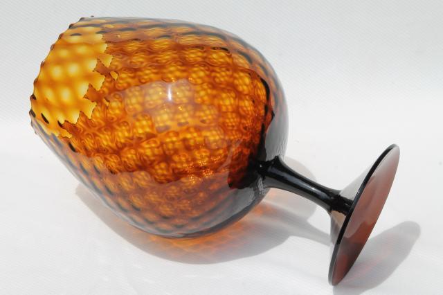 Root Beer Brown Amber Brandy Glass Vase Vintage Italy Hand Blown