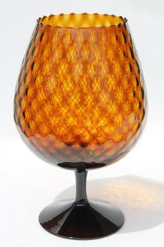 root beer brown amber brandy glass vase, vintage Italy hand blown optic art glass