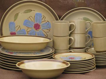 Rose of Sharon flower stoneware dishes set for 8, Hearthside - Japan