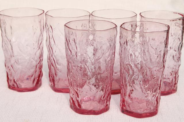 rose pink crinkle glass tumblers, mod vintage Seneca driftwood drinking glasses set of 6