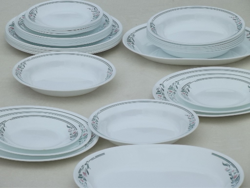 & Rosemarie pink tulip Corelle Corning glass soup bowls plates set for 8