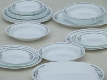 Rosemarie pink tulip Corelle, Corning glass soup bowls plates set for 8