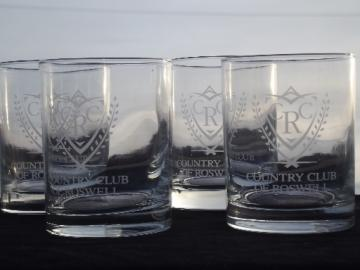 Roswell Country Club rocks glasses set, retro etched glass tumblers
