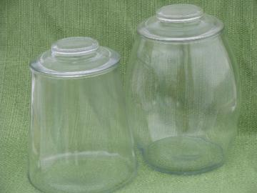 Round bellied cracker barrel or cookie jar & big old glass canister