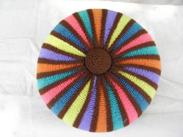 Round color wheel throw pillow, funky 50s 60s vintage hand knitted wool