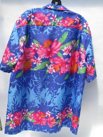 306e5e59 Royal Creations - Hawaii, vintage Hawaiian print XL men's poly shirt