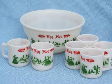 Rum spiked eggnog Christmas punch set, 1950s vintage bowl and cups