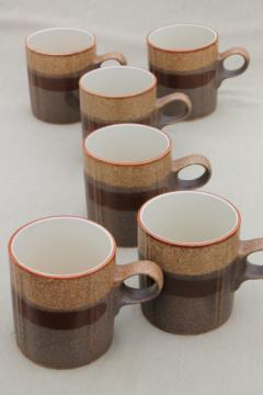 Rustic brown stoneware mugs, 70s 80s vintage Stonecrest Blissfield coffee cups