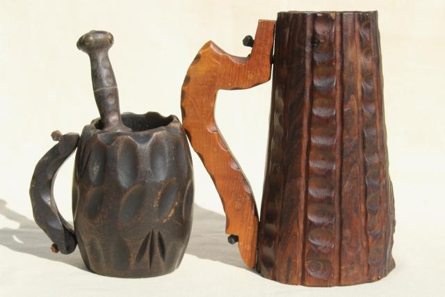 rustic hand carved wood tavern cups, beer stein & mug with pestle or muddler