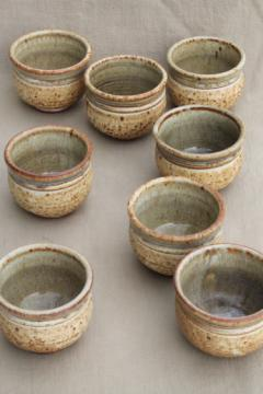 Rustic handmade studio pottery stoneware noodle bowls or handle-less tea cups