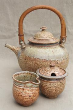Rustic handmade studio pottery stoneware tea pot, huge kettle shape teapot