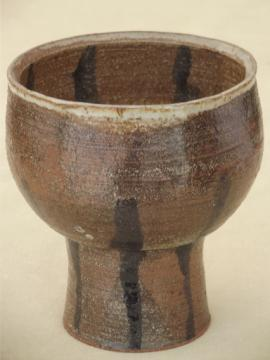 Rustic hand-thrown pottery goblet candle holder for big & little candles