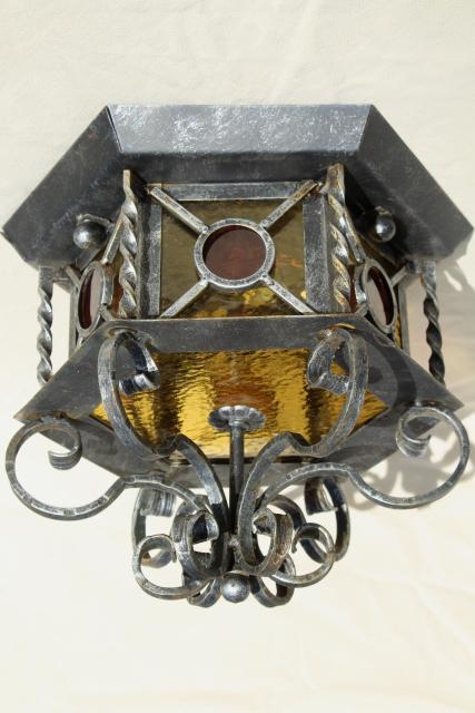 rustic vintage Spanish iron stained glass ceiling light fixture, old Mexico style