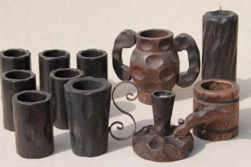 rustic vintage carved wood tavern cups & candle holders made in Spain, Don Quixote style!