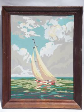 Sailboat on lake or ocean paint-by-number, retro vintage beach wall art