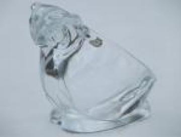 Sasaki crystal clear glass owl paperweight bowl / ashtray w/ paper label