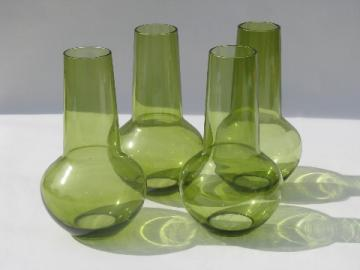 Scandinavian modern 70s vintage green glass lamp chimney shades, Sweden