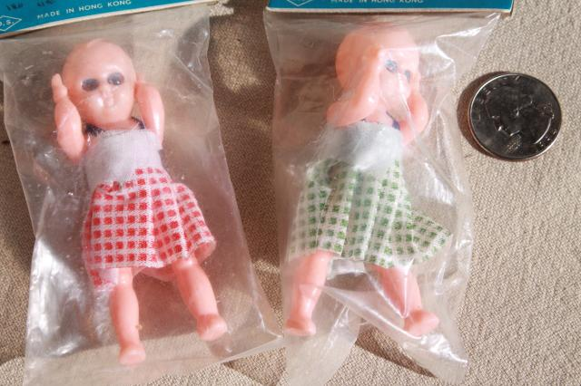 scary cute vintage hard plastic baby dolls poseable w/ moving eyes, toys made in Hong Kong