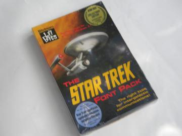 Sealed early PC Star Trek TrueType font pack Federation, Klingon etc.