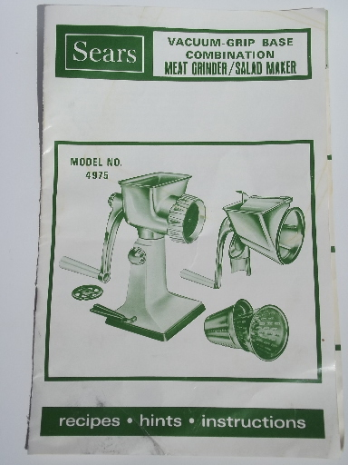 Sears hand crank salad master slicer / shredder / grater / meat grinder