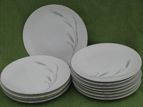 & Set 12 silver wheat salad plates vintage Johann Haviland - Bavaria