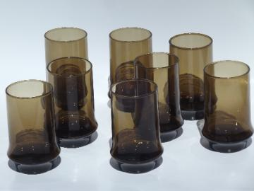 Set 8 retro smoke brown glass tumblers, vintage Libbey Impromptu tawny