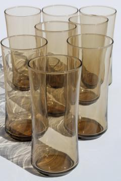 Set 8 tall tumblers, zombie cooler drinking glasses, retro vintage Libbey tawny smoke brown glass