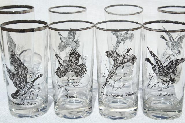 set 8 vintage drinking glasses, game birds pattern tumblers w/ platinum silver band trim