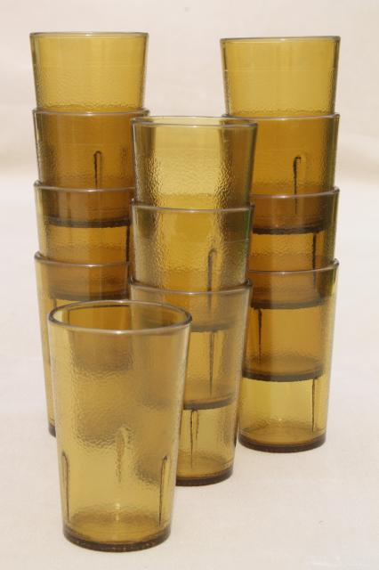 Set Of 12 Retro Amber Plastic Restaurant Drinking Glasses