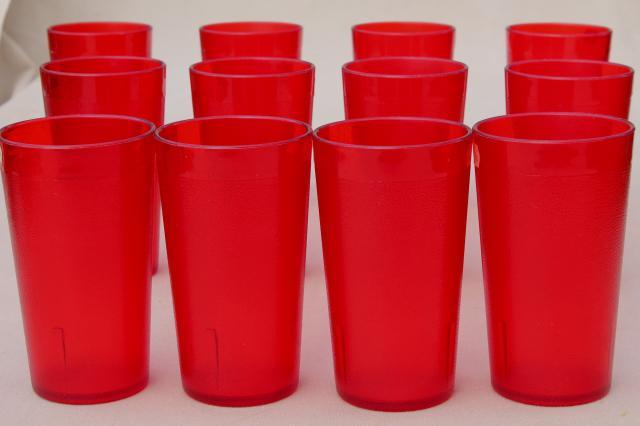 Set Of 12 Retro Red Plastic Restaurant Drinking Glasses