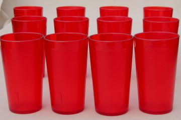 set of 12 retro red plastic restaurant drinking glasses, unbreakable tumblers